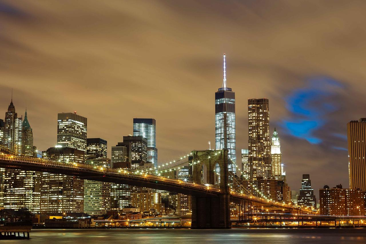 New York City and the Brooklyn Bridge