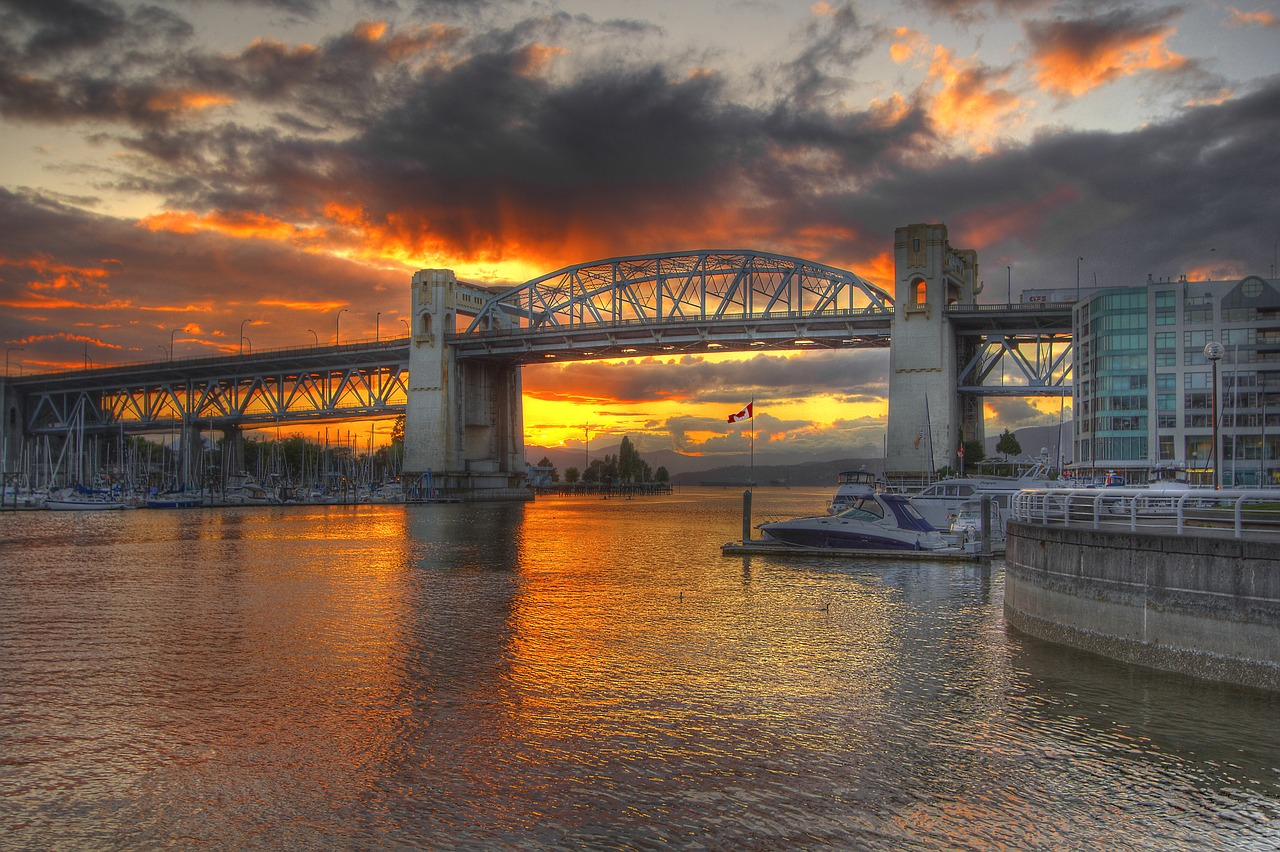 Sunset over the Burrard Street Bridge in Vancouver BC